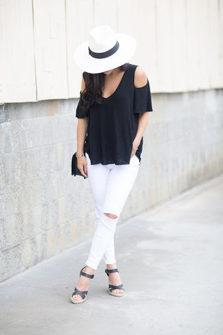 How to wear: black leather crossbody bag, black leather wedge sandals, white ripped skinny jeans, black off shoulder top