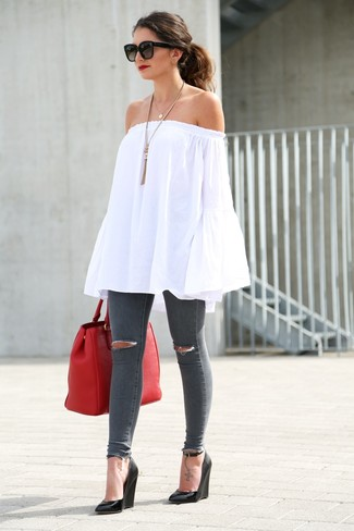 How to wear: red leather tote bag, black leather wedge sandals, charcoal ripped skinny jeans, white off shoulder top