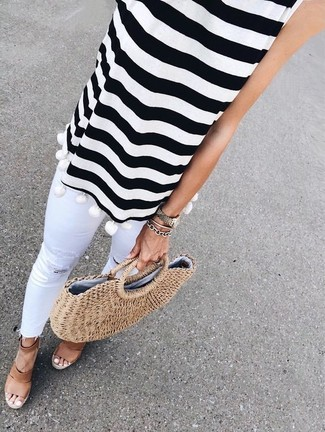 How to wear: tan straw tote bag, brown leather wedge sandals, white ripped skinny jeans, white and black horizontal striped sleeveless top