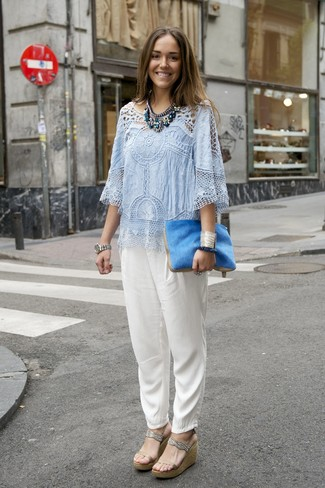 How to wear: blue fur clutch, beige leather wedge sandals, white silk tapered pants, light blue crochet short sleeve blouse