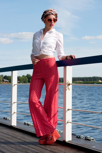 How to wear: red and white silk scarf, orange suede wedge sandals, red print wide leg pants, white dress shirt
