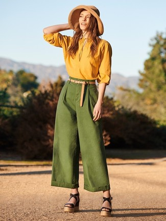 How to wear: khaki straw hat, black leather wedge sandals, dark green wide leg pants, mustard long sleeve blouse