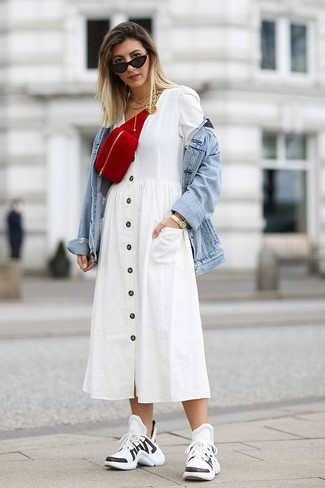 How to wear: red suede fanny pack, white and black athletic shoes, white shirtdress, light blue denim jacket
