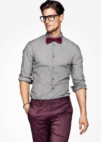 How to wear: white and black gingham long sleeve shirt, burgundy chinos, burgundy bow-tie