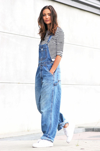 How to wear: white and black horizontal striped long sleeve t-shirt, blue denim overalls, white leather low top sneakers