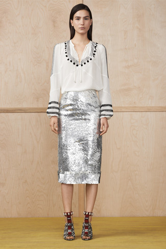 How to wear: white and black snake leather heeled sandals, silver sequin pencil skirt, white and black print peasant blouse