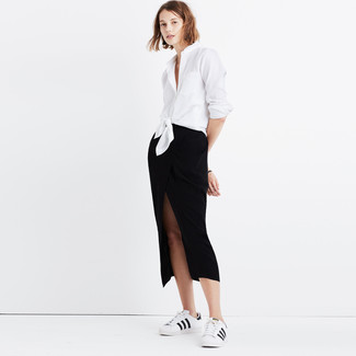 How to wear: white and black leather low top sneakers, black slit midi skirt, white dress shirt