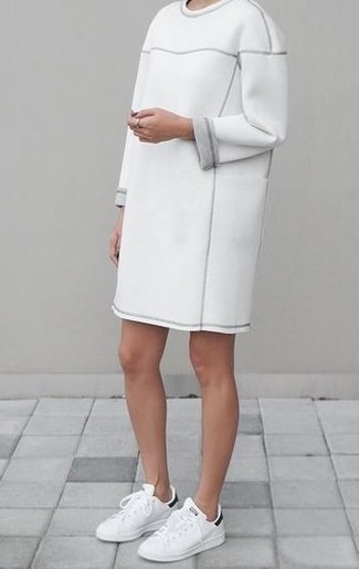 How to wear: white and black leather low top sneakers, white sweater dress