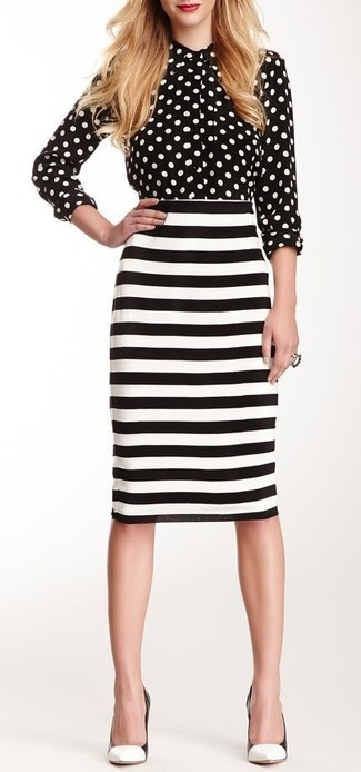 How to wear: white and black leather pumps, white and black horizontal striped pencil skirt, black and white polka dot dress shirt