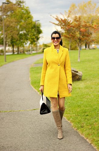 How to wear: white and black leather satchel bag, tan leather knee high boots, yellow coat
