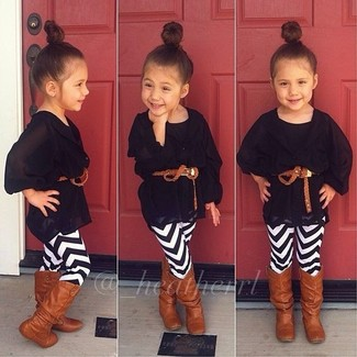 How to wear: brown boots, white and black leggings, black tank top, black chiffon cardigan