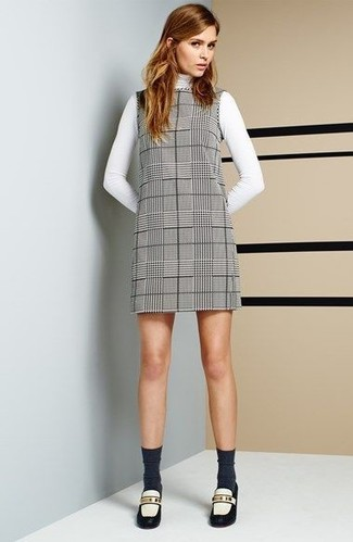 How to wear: charcoal socks, white and black leather loafers, grey plaid shift dress, white turtleneck