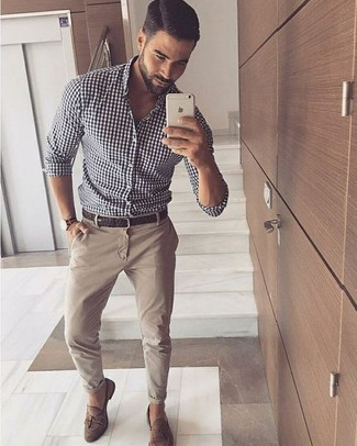 How to wear: white and black gingham long sleeve shirt, beige chinos, brown suede tassel loafers, dark brown woven leather belt