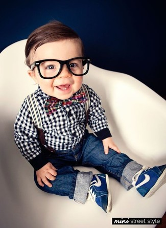 How to wear: white and black gingham long sleeve shirt, navy jeans, navy sneakers, red bow-tie