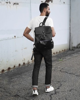 How to Wear a Black Leather Backpack For Men: A white crew-neck t-shirt and a black leather backpack have become a go-to off-duty combo for many stylish guys. A pair of white and black canvas low top sneakers immediately steps up the classy factor of any look.