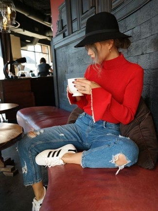 How to wear: black wool hat, white and black leather low top sneakers, blue ripped jeans, red turtleneck