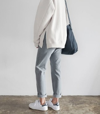 8f430f586df96 ... Women's Grey Canvas Crossbody Bag, White and Black Leather Low Top  Sneakers, Grey Boyfriend
