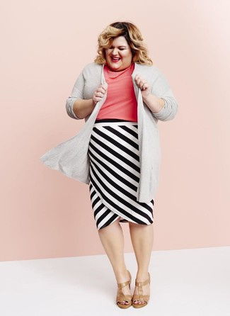 How to wear: tan leather heeled sandals, white and black horizontal striped pencil skirt, hot pink short sleeve blouse, grey open cardigan