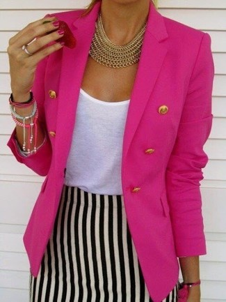 How to wear: gold necklace, white and black vertical striped pencil skirt, white crew-neck t-shirt, hot pink double breasted blazer