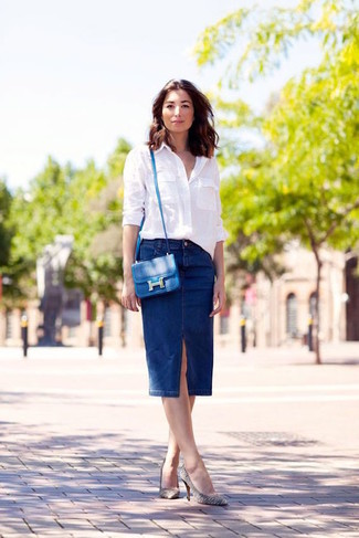 How to wear: blue leather crossbody bag, white and black horizontal striped leather pumps, navy denim pencil skirt, white dress shirt