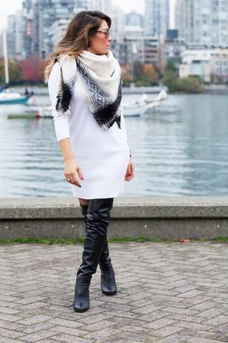 How to wear: white and black scarf, black leather over the knee boots, white sweater dress