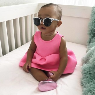 How to wear: white and black sunglasses, hot pink ballet flats, hot pink dress
