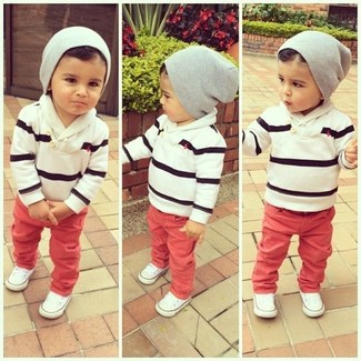 How to wear: white and black horizontal striped sweater, red jeans, white sneakers, grey beanie