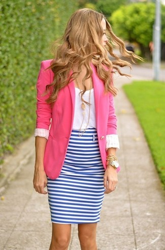 How to wear: white and blue horizontal striped pencil skirt, white crew-neck t-shirt, hot pink blazer