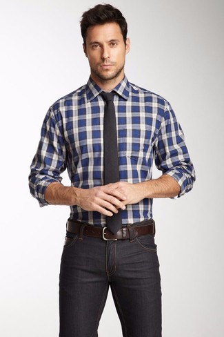 Men's White and Blue Plaid Long Sleeve Shirt, Charcoal Skinny ...