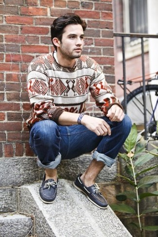 How to wear: white and brown fair isle crew-neck sweater, navy jeans, navy leather boat shoes