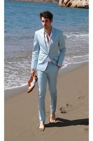 How to wear: white and brown leather brogues, white dress shirt, mint suit