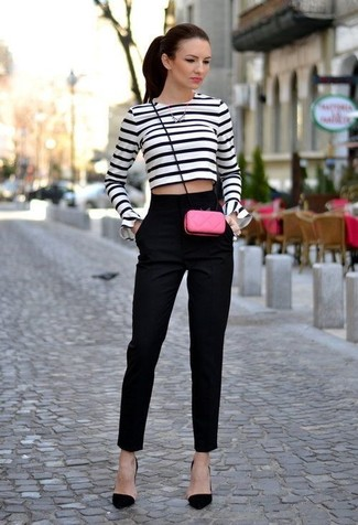 A white and navy striped cropped sweater and black suit pants is a versatile combo that will provide you with variety. Black suede pumps will instantly spruce up even the laziest of looks. A perfect example of transitional fashion, this look is a must-have this spring.