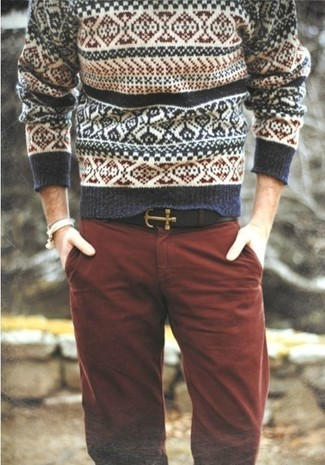 To create an outfit for lunch with friends at the weekend try teaming a white and navy fair isle jumper with oxblood chinos. We're loving that this combination is great come fall.