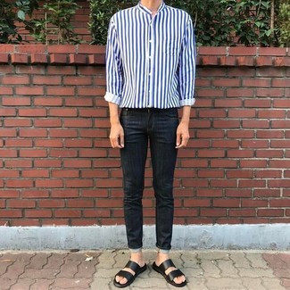 How to wear: white and navy vertical striped long sleeve shirt, black skinny jeans, black leather sandals