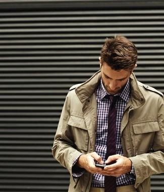 How to wear: white and purple gingham dress shirt, khaki chinos, purple horizontal striped tie