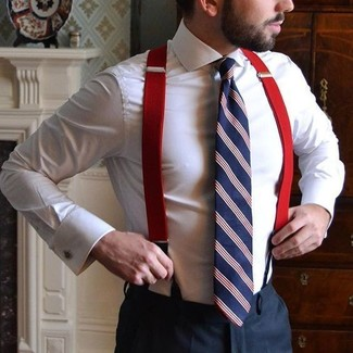 How to wear: red suspenders, white and red and navy vertical striped tie, black dress pants, white dress shirt
