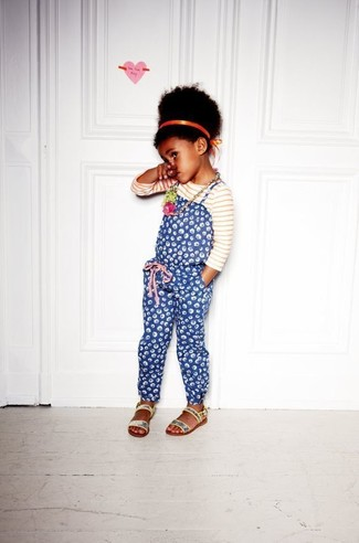 How to wear: white and red horizontal striped long sleeve t-shirt, blue print overalls, silver sequin sandals, orange headband