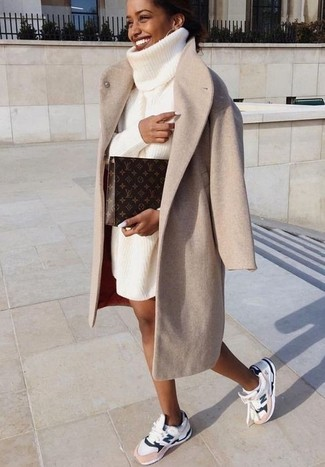 How to wear: dark brown print leather clutch, white athletic shoes, white knit sweater dress, beige coat