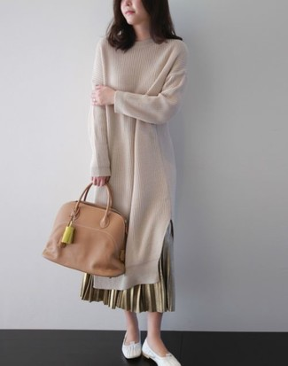 How to wear: tan leather tote bag, white leather ballerina shoes, gold pleated maxi skirt, beige sweater dress