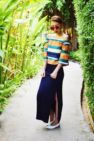 How to wear: red sunglasses, white leather ballerina shoes, navy maxi skirt, orange off shoulder top