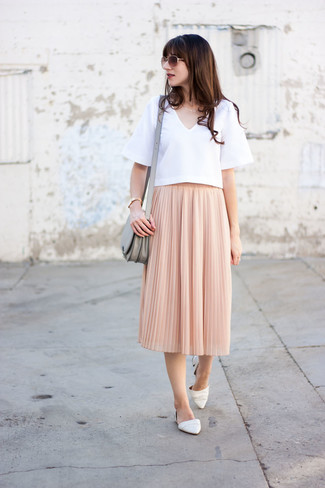 How to wear: grey leather crossbody bag, white leather ballerina shoes, pink pleated midi skirt, white short sleeve blouse