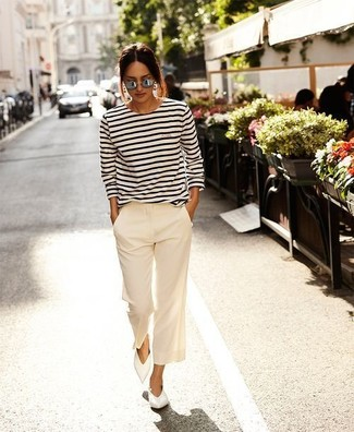 How to wear: grey sunglasses, white leather ballerina shoes, white wide leg pants, white and black horizontal striped long sleeve t-shirt