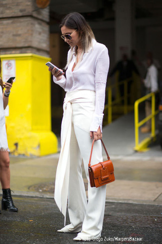 How to wear: tobacco leather satchel bag, white leather ballerina shoes, white wide leg pants, white dress shirt