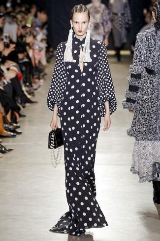 How to wear: white beaded earrings, black leather handbag, black and white polka dot evening dress