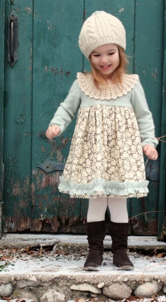 How to wear: white tights, white beanie, black boots, white lace dress