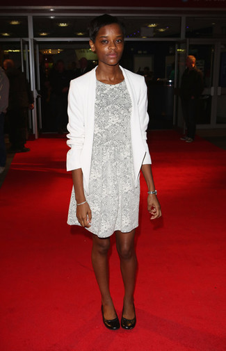 How to wear: white blazer, grey floral fit and flare dress, black leather ballerina shoes, silver watch