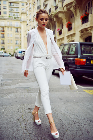How to wear: white blazer, white jumpsuit, white leather heeled sandals, white leather belt