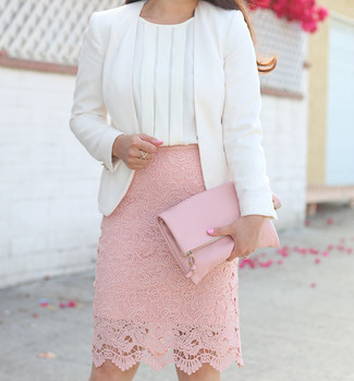 Women's White Blazer, White Silk Sleeveless Top, Pink Lace Pencil Skirt, Pink Leather Clutch