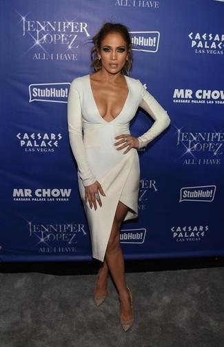 Jennifer Lopez wearing White Bodycon Dress, Gold Leather Pumps, Light Blue Earrings, Light Blue Ring