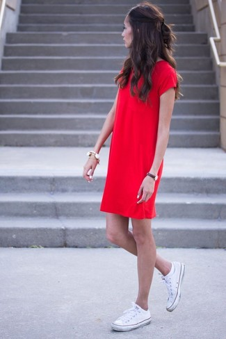 How to wear: white bracelet, white canvas low top sneakers, red shift dress